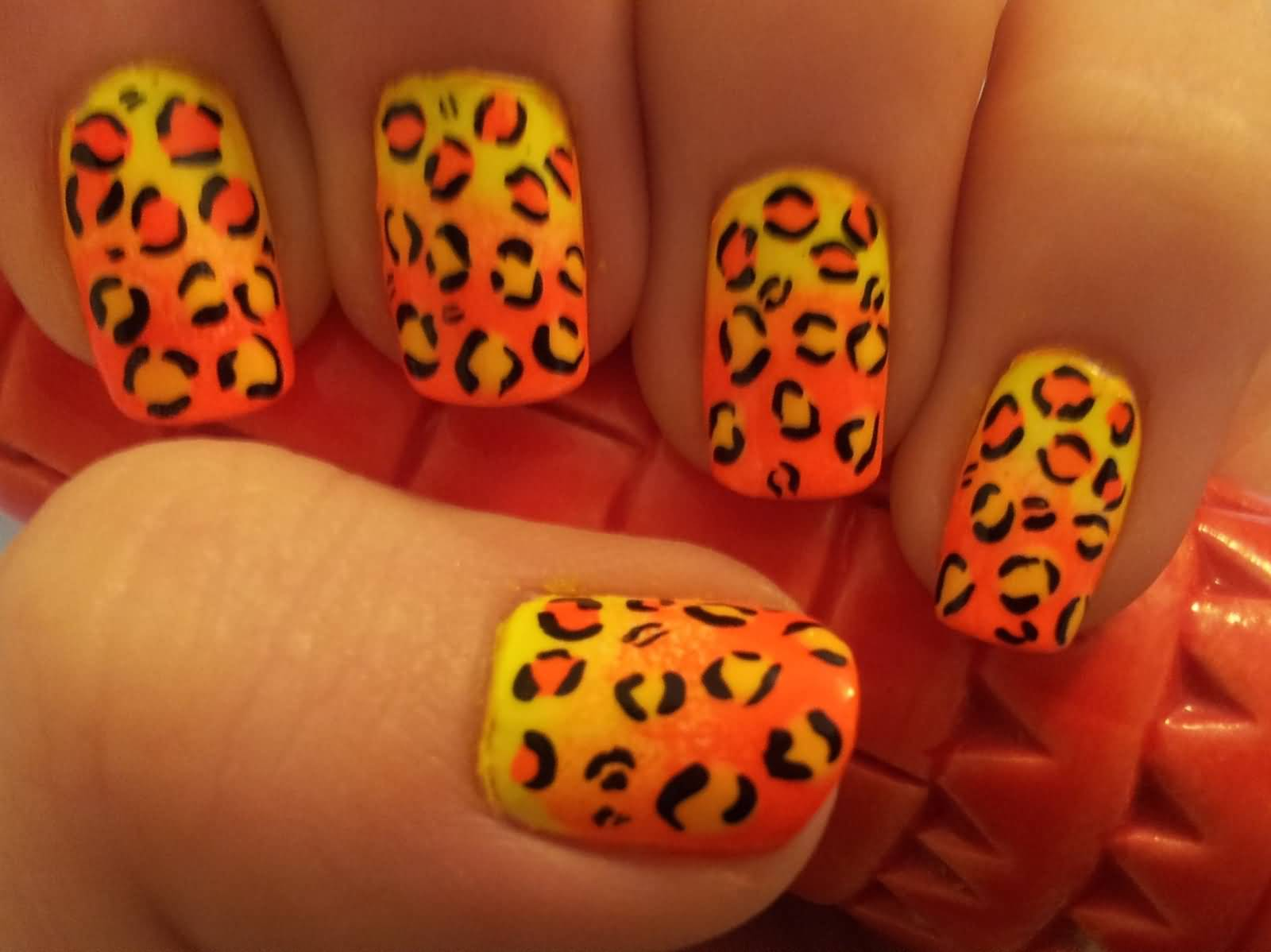 40 latest neon nail art designs yellow and orange neon ombre leopard print nail art prinsesfo Image collections