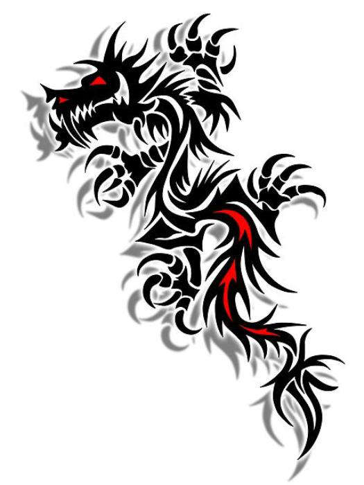 10 colored tribal dragon tattoo