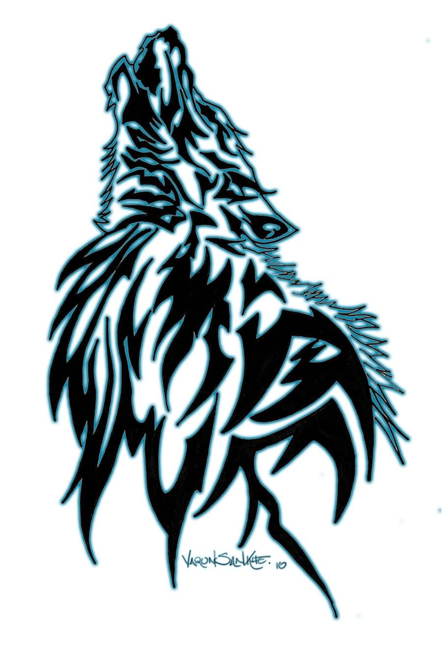Tribal-Tattoos Amazing-Black-And-Green-Tribal-Wolf-Howling-Tattoo-Stencil