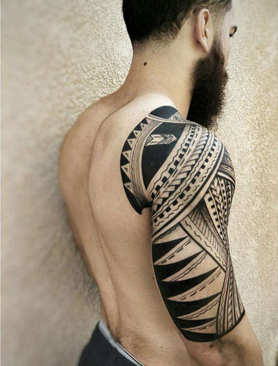 32 amazing tribal sleeve tattoos for Tribal half sleeve tattoos