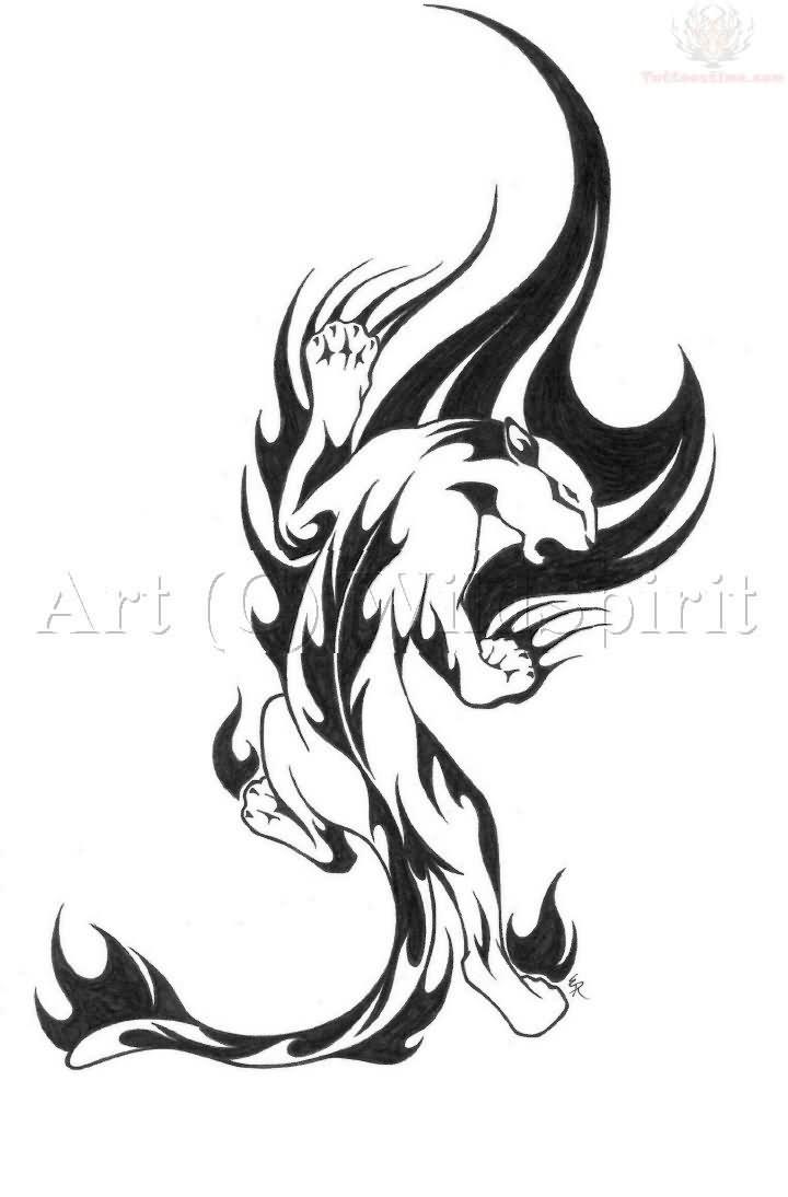 Tribal-Tattoos Amazing-Tribal-Flame-Jaguar-Tattoo-Stencil