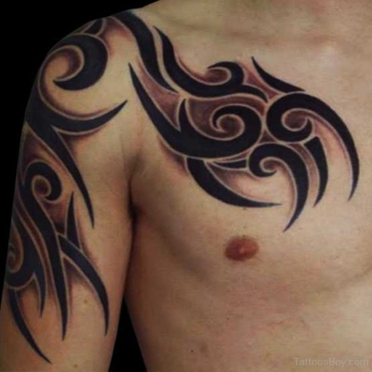 7bc5768e71ae7 Amazing Tribal Style Pattern Shoulder And Chest Dark Black Ink Tattoo