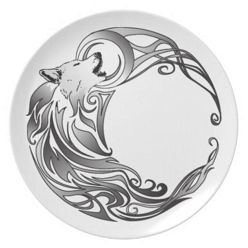 1b9d1419578ec Amazing Tribal Wolf On Moon Black And White Tattoo Design