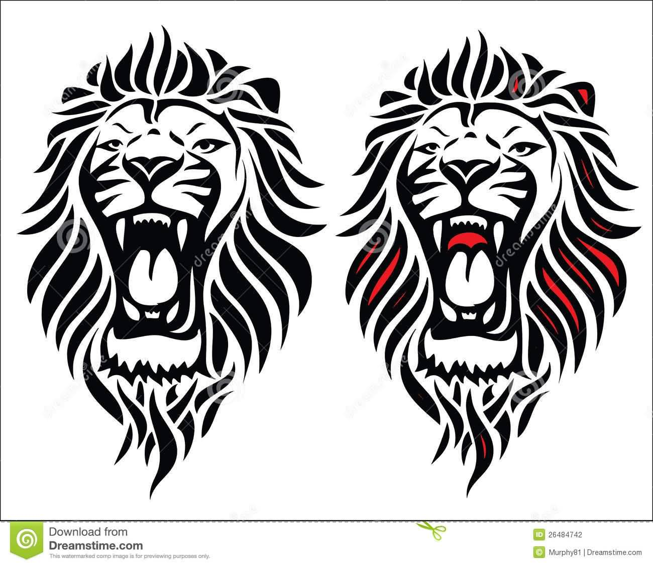 018d2285f Angry Red And Black Tribal Lion Head Tattoos Designs