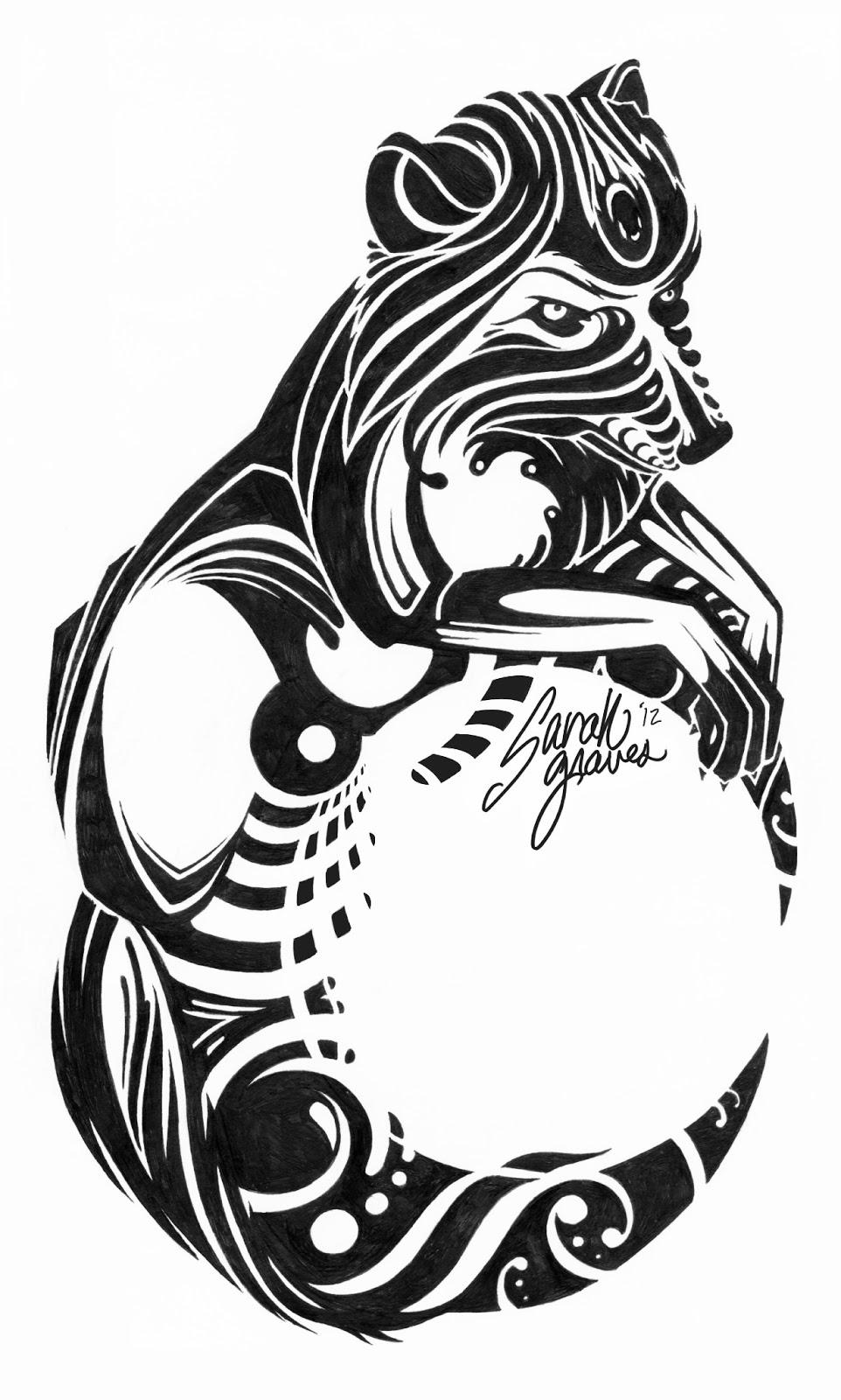 6f8df0aca Astonishing Tribal Wolf With Half Moon Tattoo Stencil