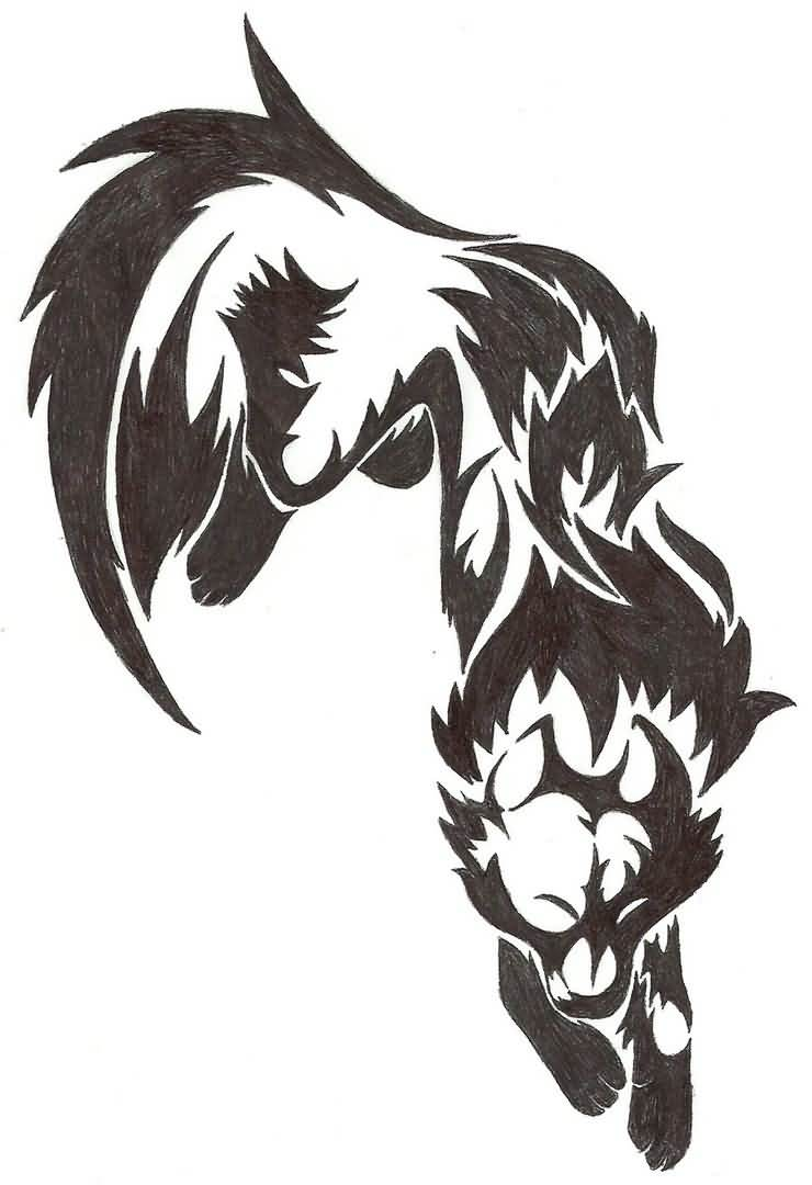 60 tribal wolf tattoos designs and ideas. Black Bedroom Furniture Sets. Home Design Ideas