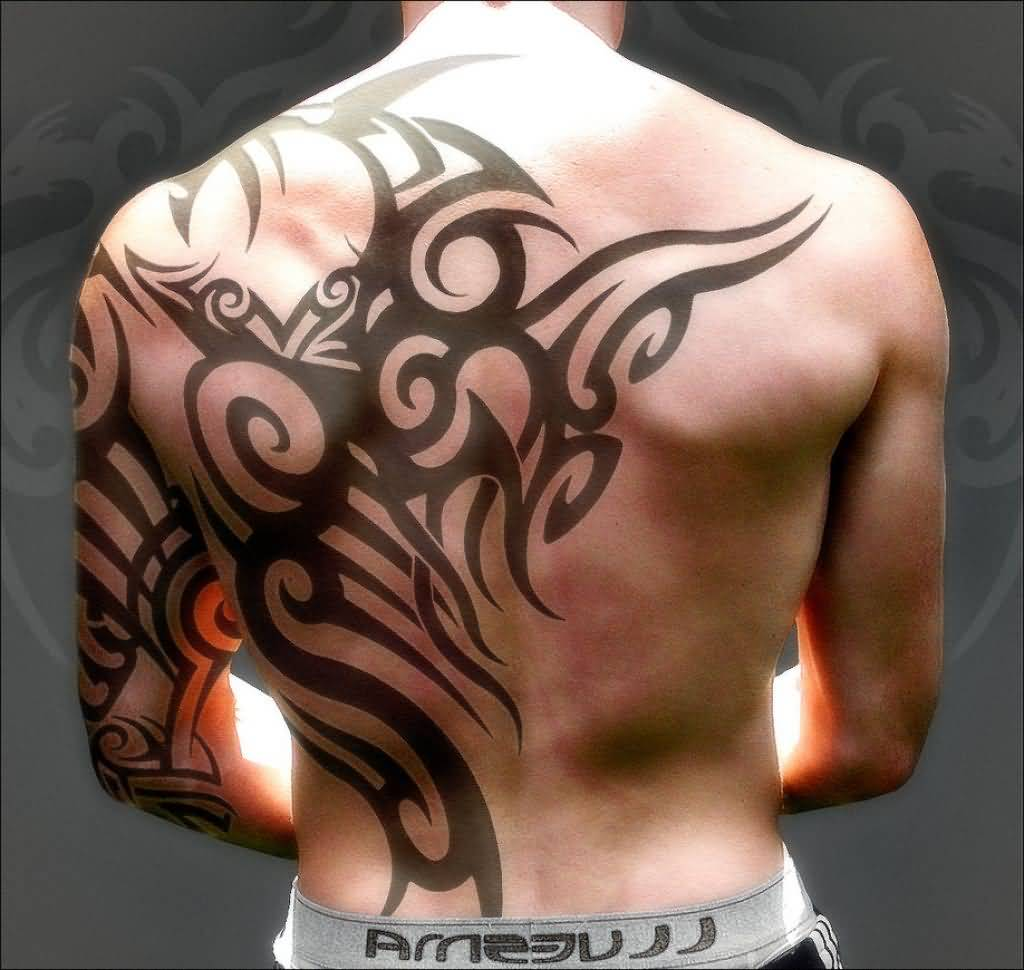 Attractive Tribal Design Tattoo On Back And Half Sleeve For Men