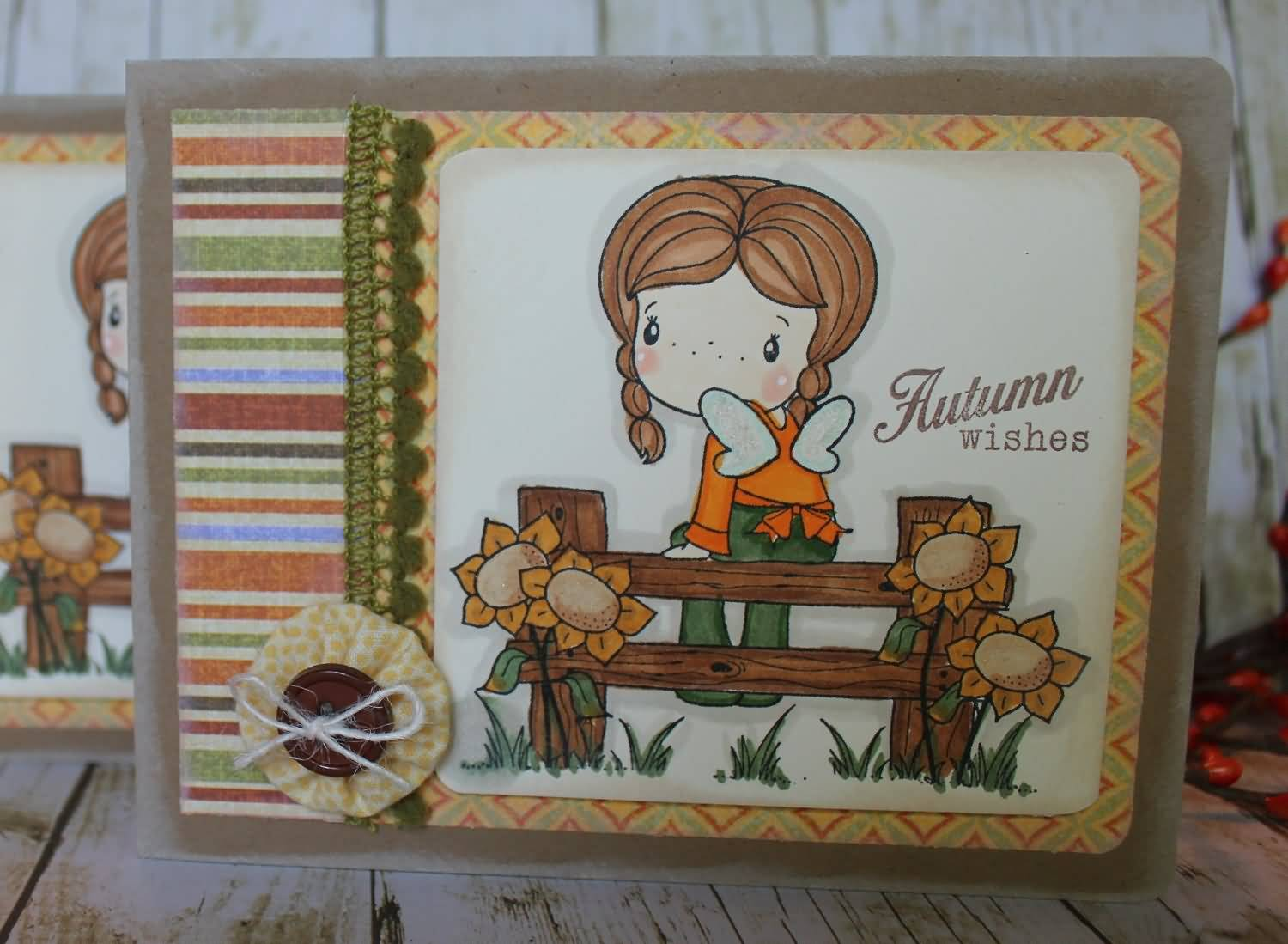 Autumn Wishes Adorable Greeting Card