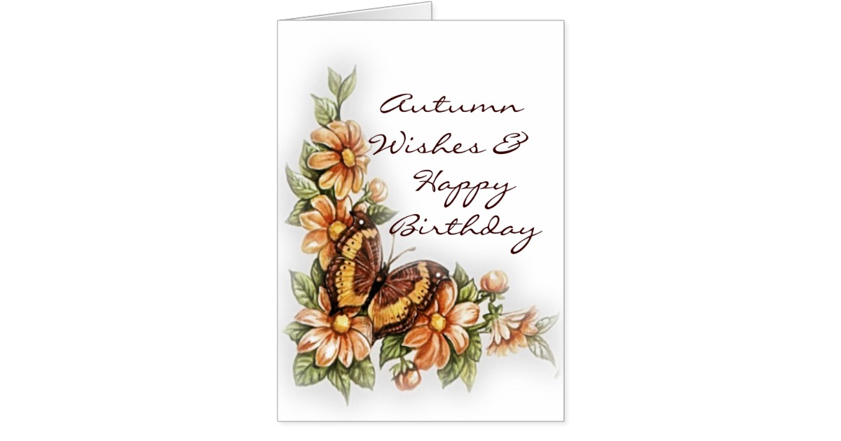 Autumn Wishes Happy Birthday Greeting Card