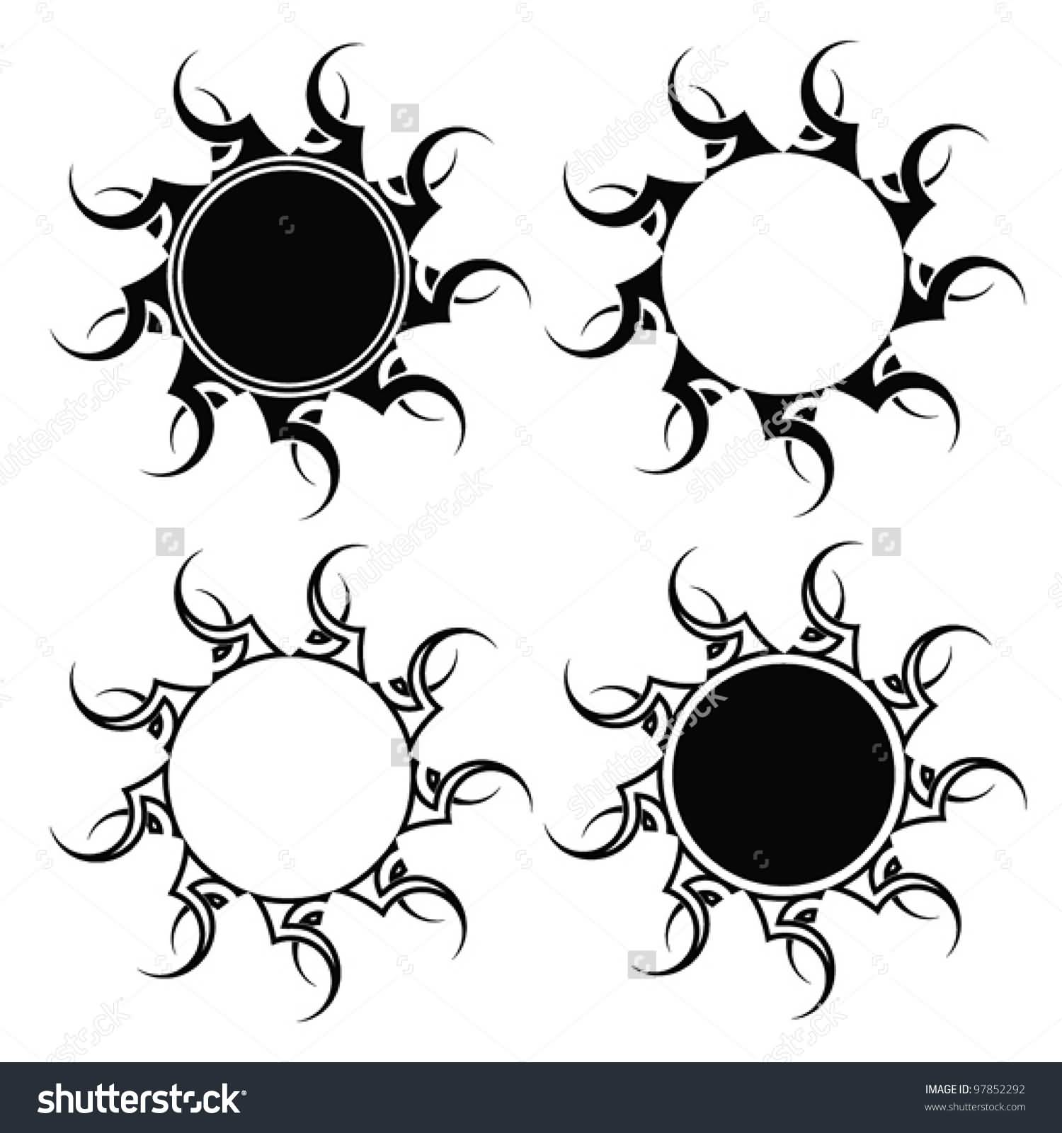 Awesome Set Of Tribal Sun Tattoos