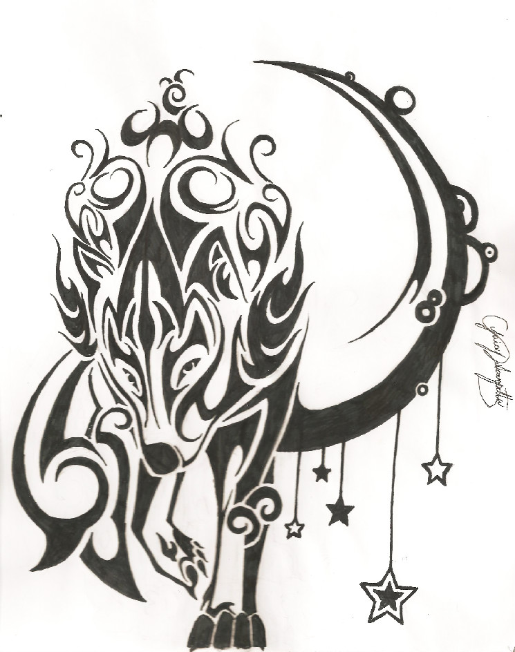 a4e9b5e1b Awesome Tribal Wolf Walking And Half Moon Tattoo Design