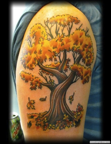 32 latest fall tattoos collection for Fall tree tattoo