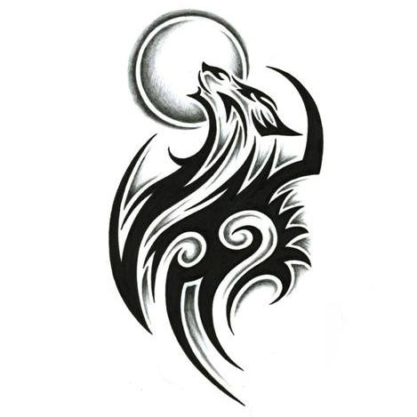 Beautiful Howling Tribal Wolf And Full Moon Tattoo Design