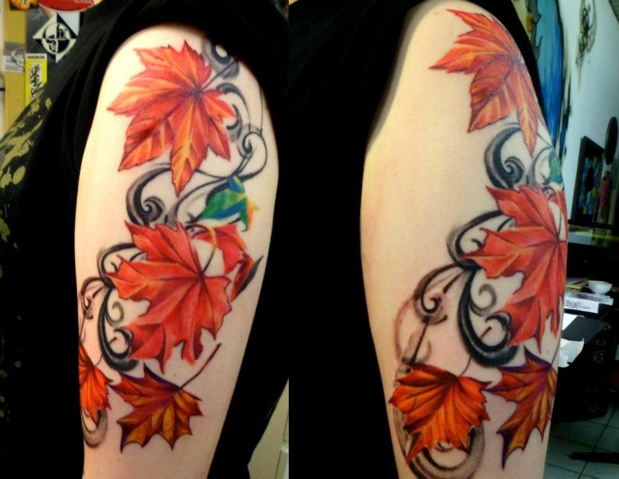 falling leaves fall tattoo on forearm. Black Bedroom Furniture Sets. Home Design Ideas