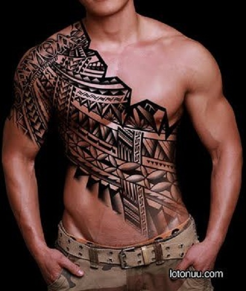 24 Tribal Shoulder Tattoo Designs Ideas: 45+ Tribal Chest Tattoos For Men