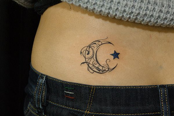 43 tribal moon tattoos for Stars and moon tattoo