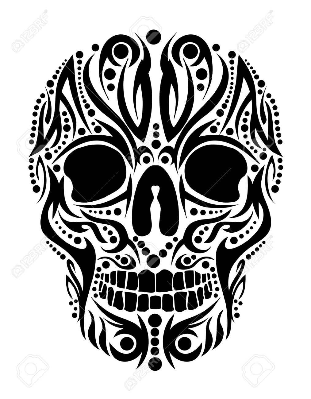 b30e8d8d8 Beautiful Tribal Skull Tattoo Stencil