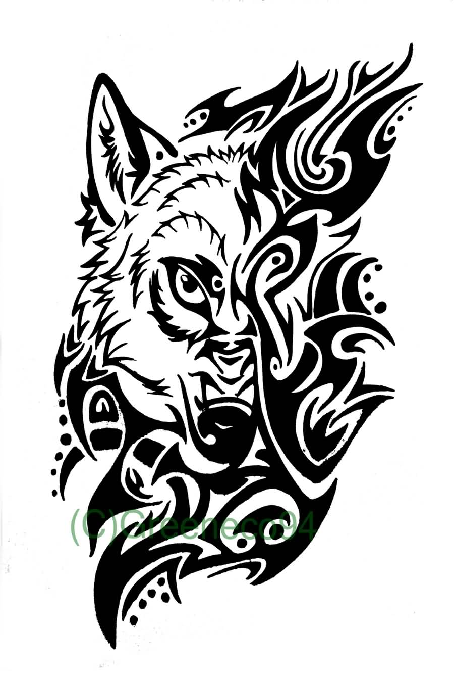 Tribal wolf tattoo design for Images of tribal tattoos