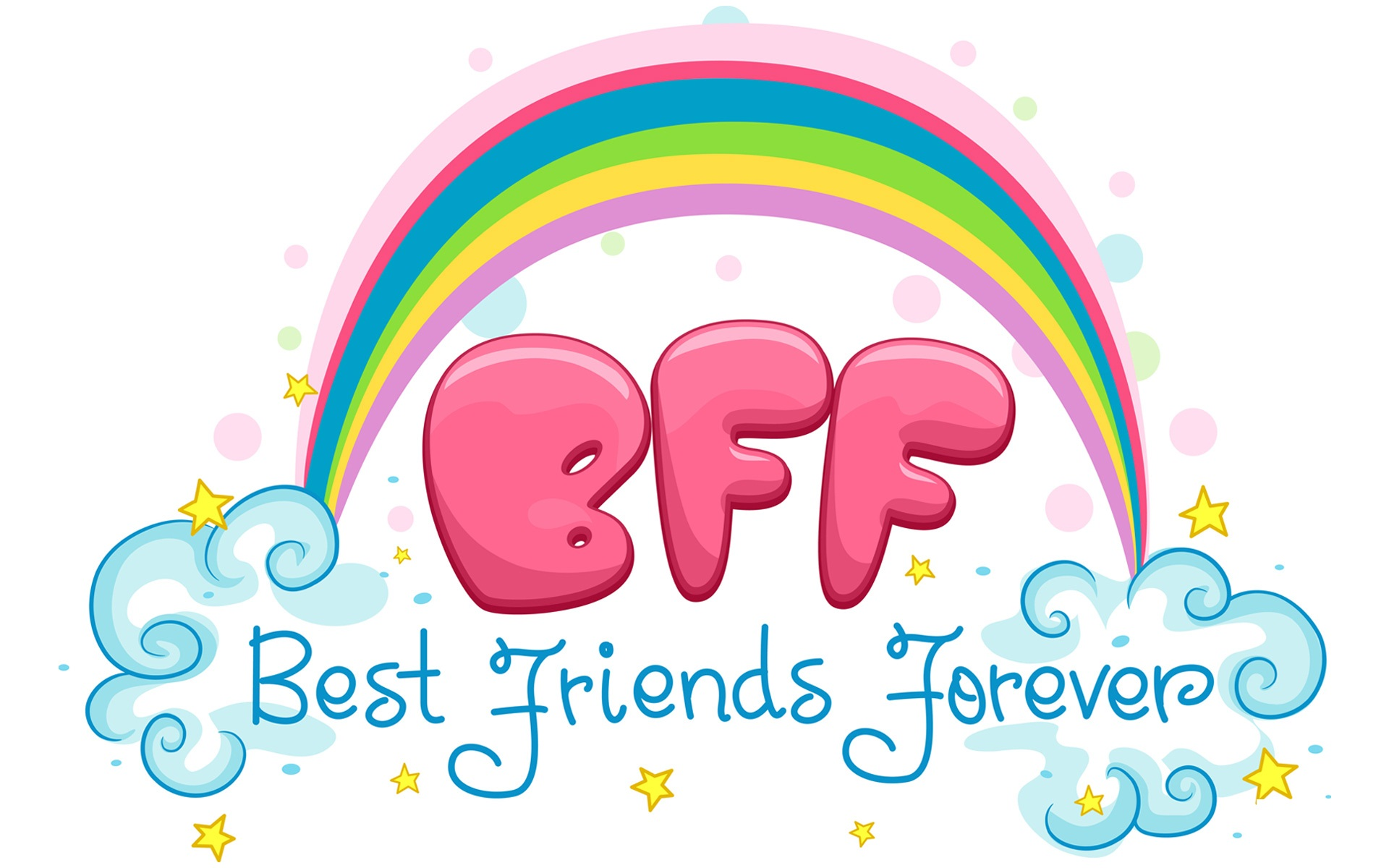 Best Friends Forever Rainbow And Clouds Picture