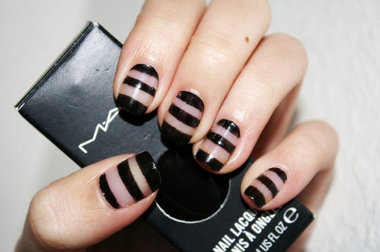 Black And Bare Stripes Nail Art - 60 Latest Stripes Nail Art Design Ideas