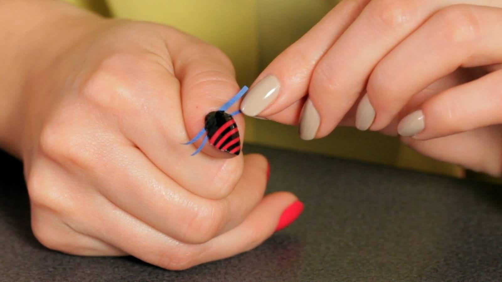 Black And Red Stripes Nail Art Tutorial