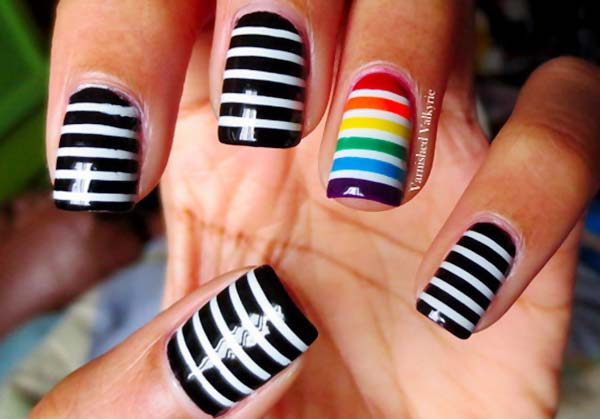 55 latest stripes nail art designs black and white and rainbow accent stripes nail art prinsesfo Image collections