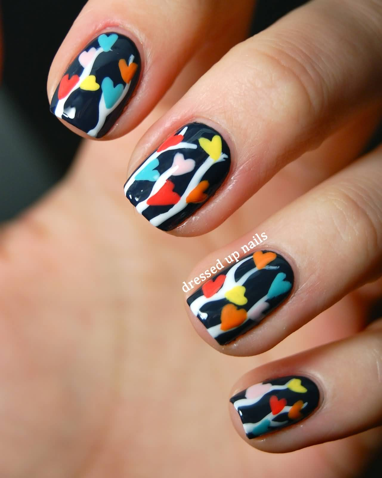 Heart Nail Art: 50 Latest Multicolor Nail Art Designs