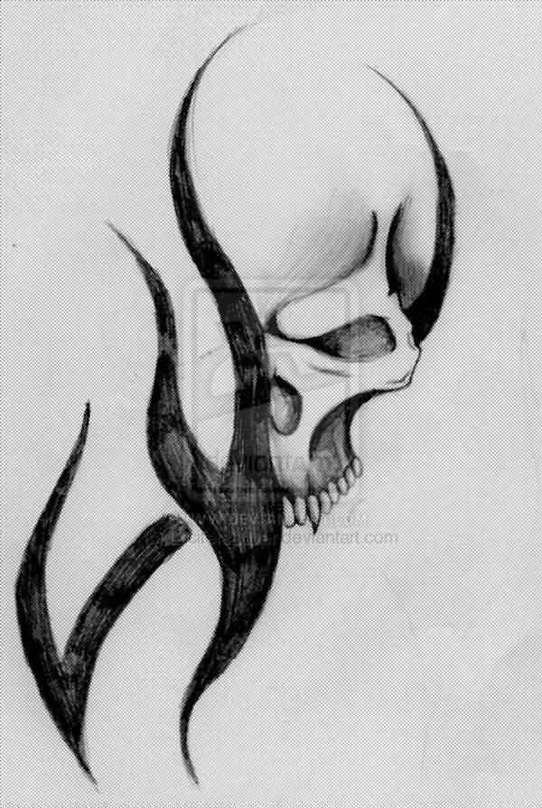 Easy Beginner Skull: 40+ Tribal Skull Tattoos Ideas