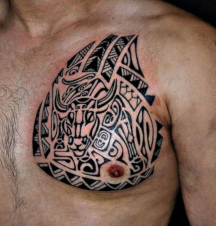 Maori Tribal Tattoo Designs Chest: 45+ Tribal Chest Tattoos For Men