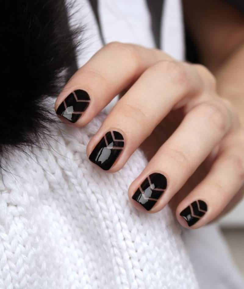 55 latest stripes nail art designs black glossy nails with brown chevron design stripes nail art prinsesfo Images