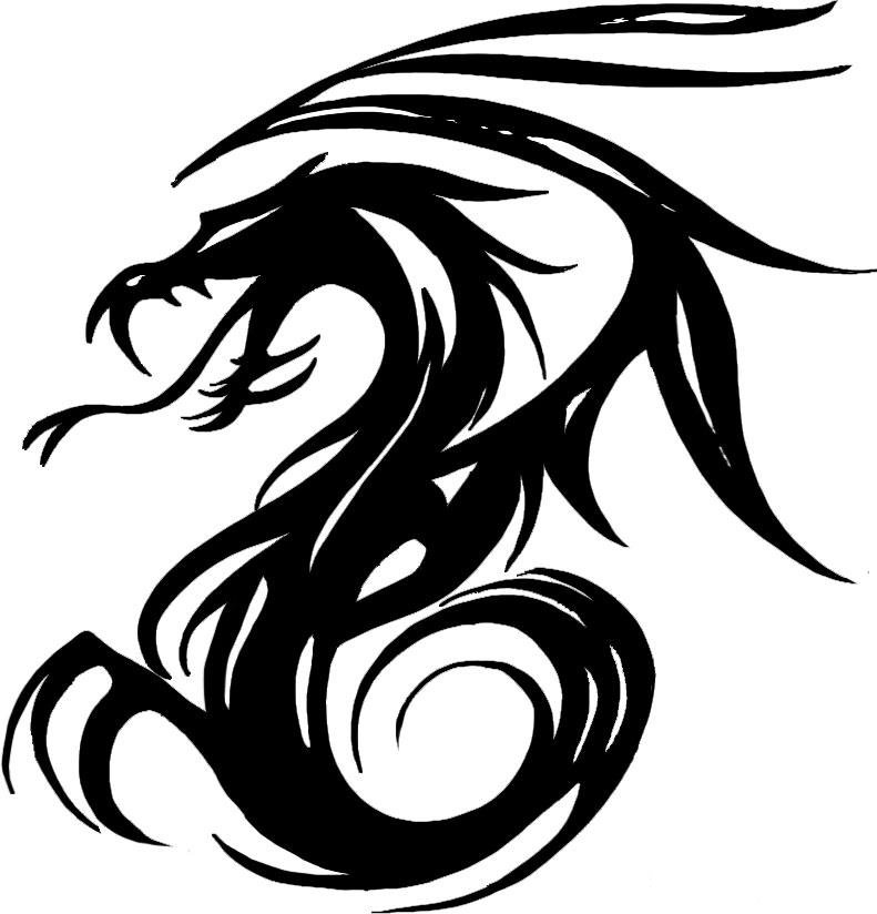Black ink tribal dragon tattoo design by ikkinumtwo for Black tribal tattoo ink