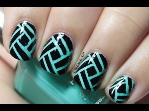 Black Nails With Blue Stripes Design Nail Art