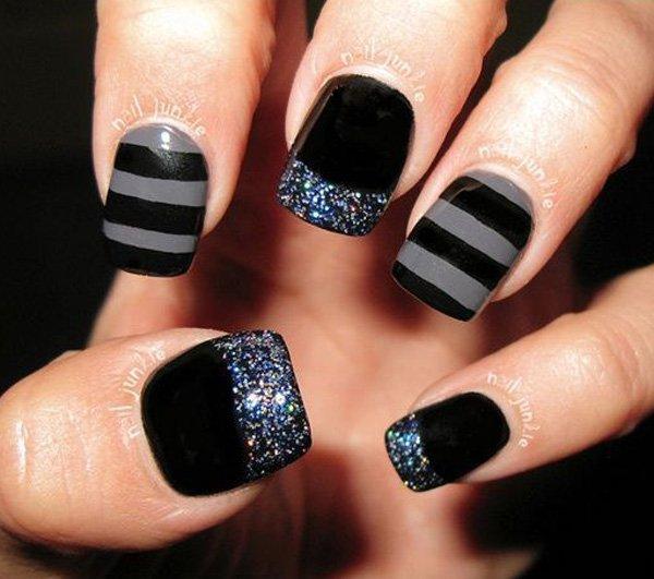 Gray And Black Nail Designs: 55+ Latest Stripes Nail Art Designs