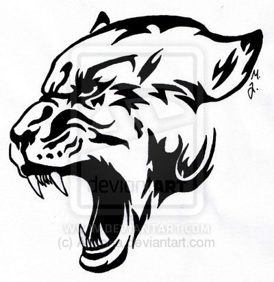 2dbfcfbf6ce72 Black Tribal Angry Panther Head Tattoo Sample