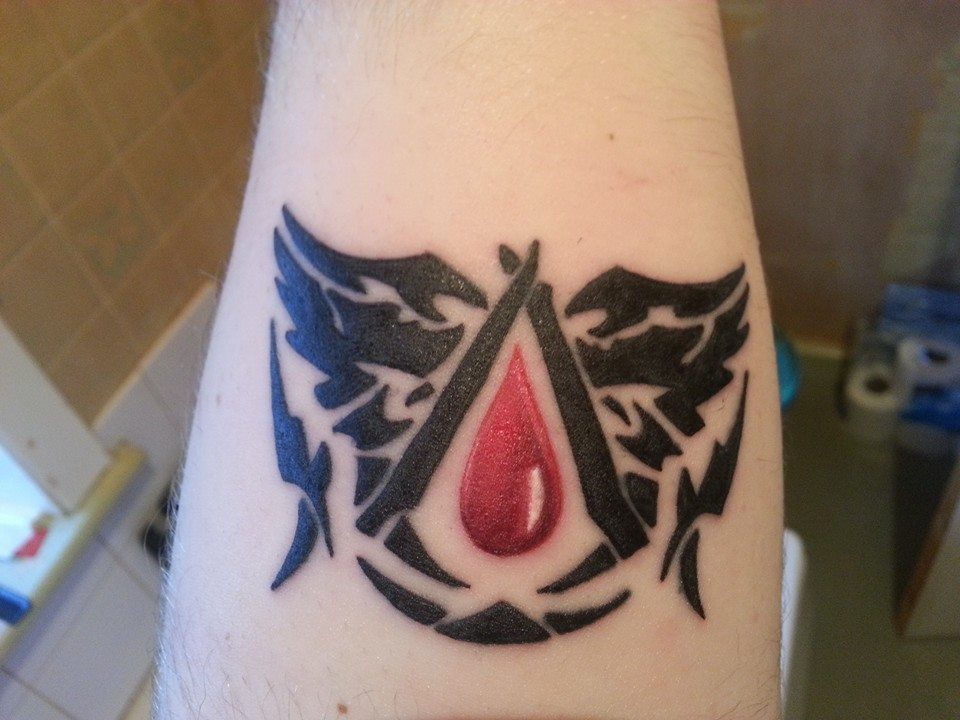 Black Tribal Assassins Creed Tattoo On Forearm By Fizzlemage