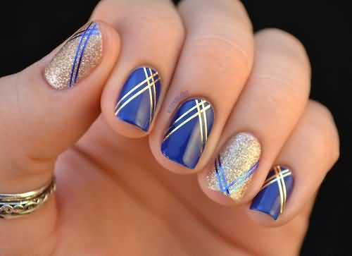 Blue And Gold Striping Tape Nail Art Design