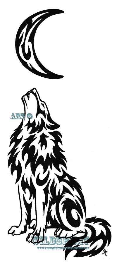 0ddc6d35c Brilliant Black Tribal Wolf With Half Moon Tattoo Stencil