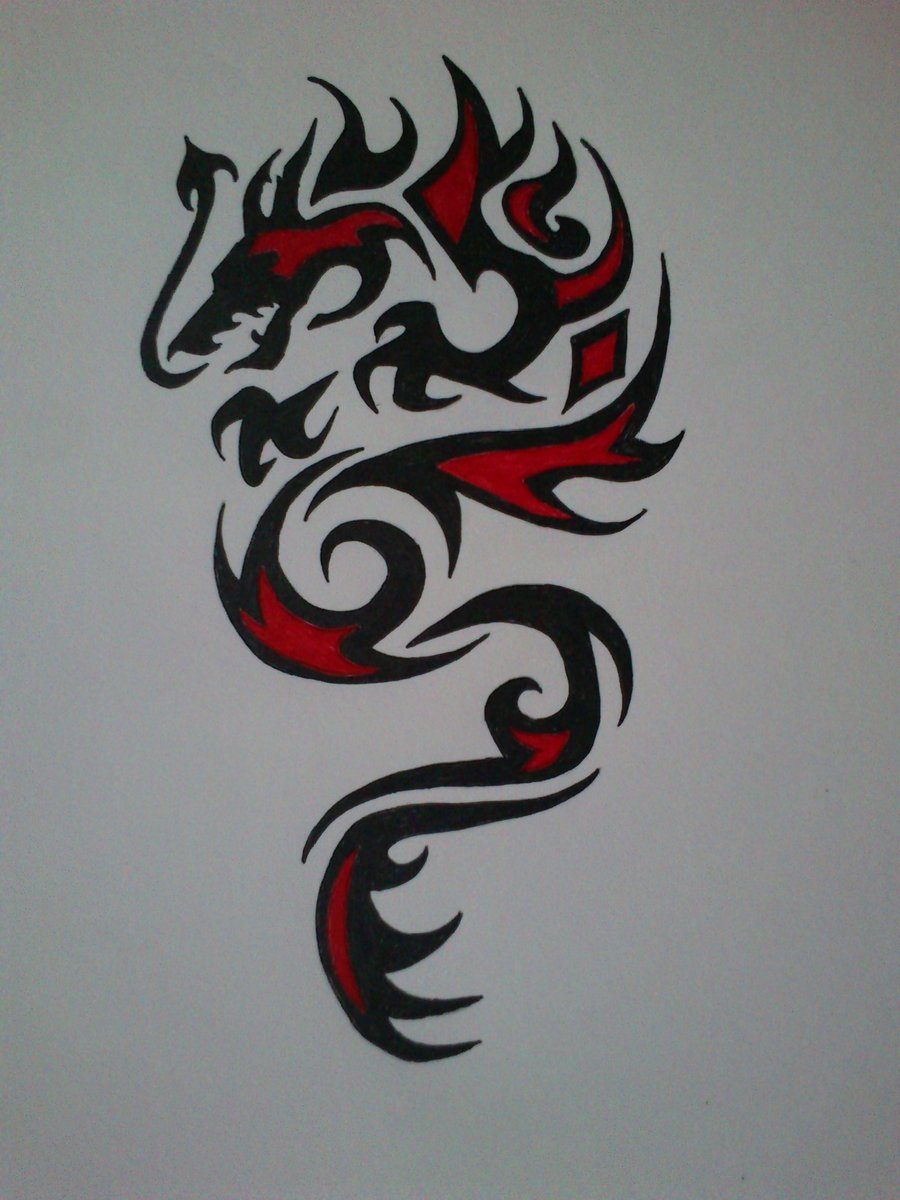 brilliant red and black tribal dragon tattoo design by devildarkhead. Black Bedroom Furniture Sets. Home Design Ideas