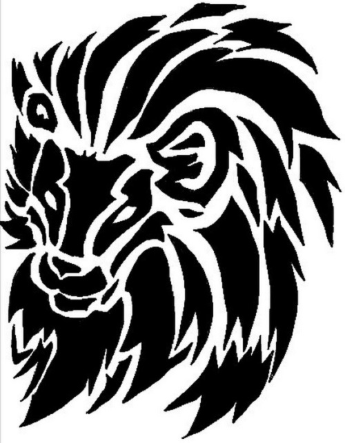 40 Tribal Lion Tattoos Unique lions head profile black outline vector drawing. 40 tribal lion tattoos