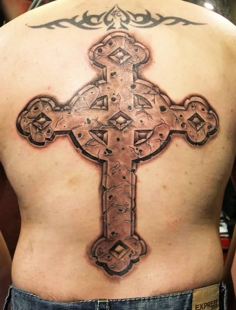 catholic stone cross tattoo on back. Black Bedroom Furniture Sets. Home Design Ideas