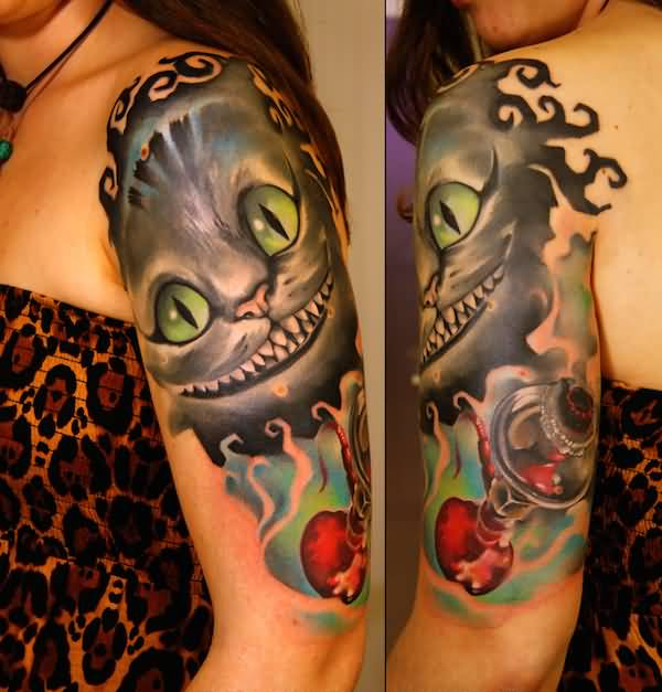 06333819a Cheshire Cat Alice in Wonderland On Left Half Sleeve For Girls