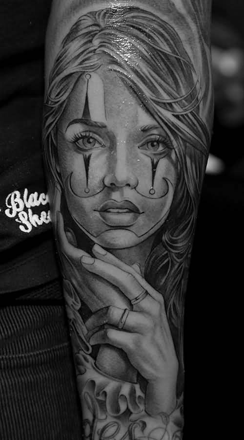 d4c9e337a70d6 Chicano Girl Tattoo On Left Forearm