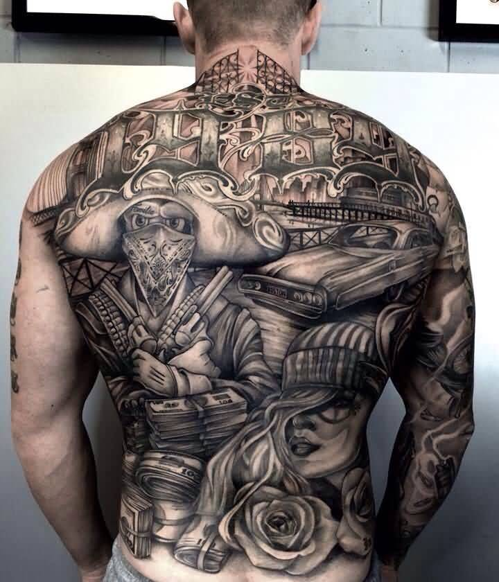 Chicano Tattoo On Back Body