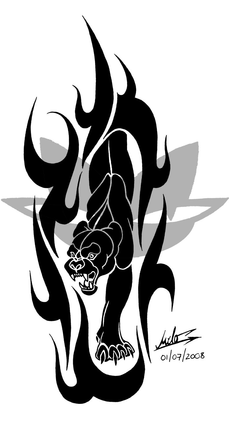 Tribal-Tattoos Classic-Black-Angry-Tribal-Panther-Tattoo-Stencil