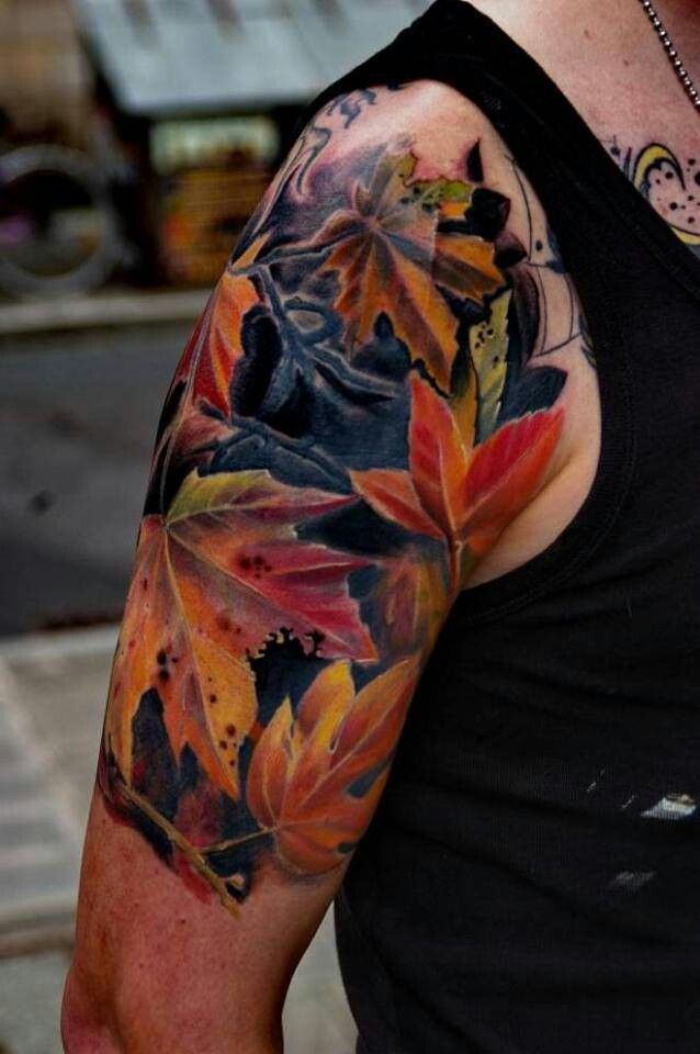 green and red autumn fall leaves tattoo on back shoulder. Black Bedroom Furniture Sets. Home Design Ideas