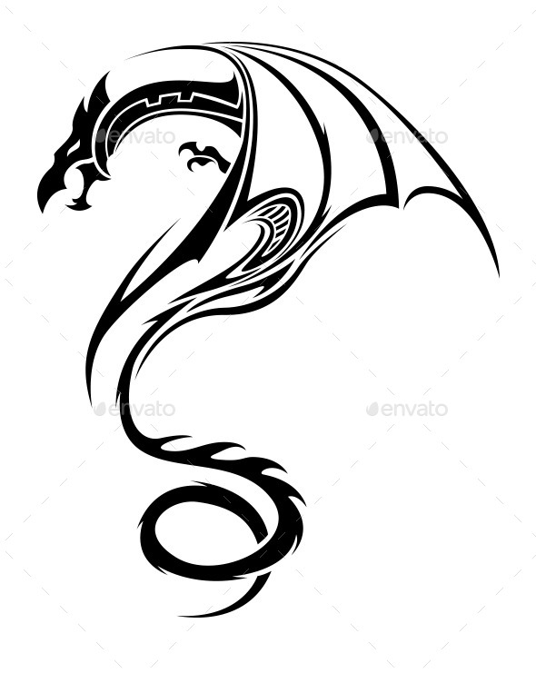 Gallery For gt Simple Tribal Dragon Tattoo Designs