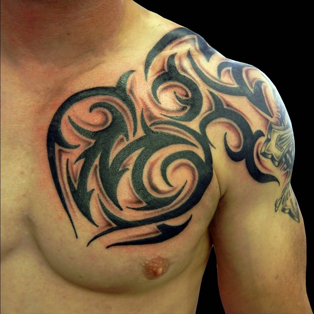 Cool Tribal Design Tattoo On Left Shoulder And Chest