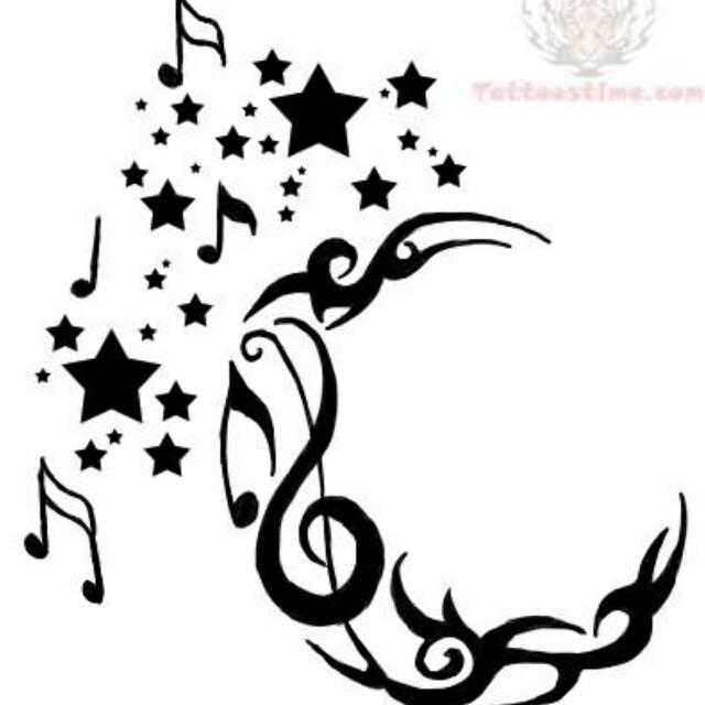 https://www.askideas.com/media/73/Creative-Tribal-Half-Moon-With-Music-Notes-And-Stars-Tattoo-Stencil.jpg Tribal Music Tattoo Designs