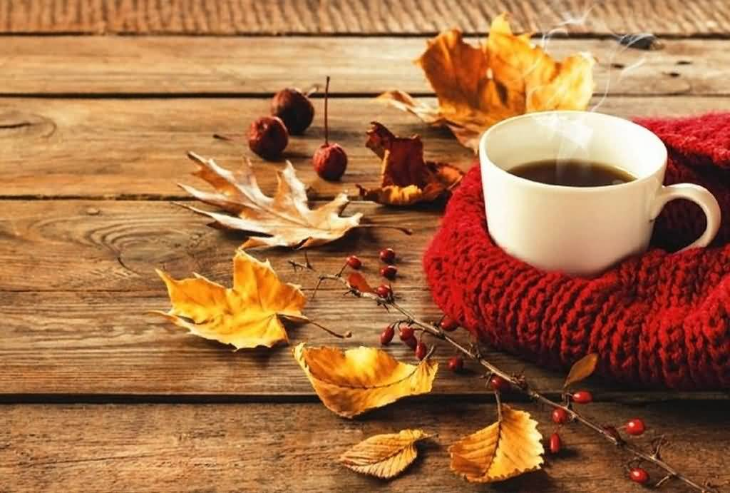 Cup Of Hot Coffee With Fallen Leaves Happy Autumn