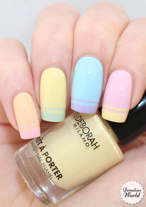 Cute Multicolor Pastel Nail Art Design